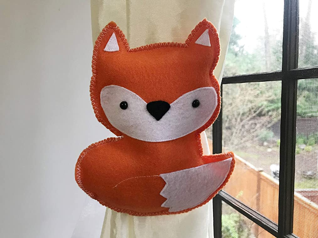 Fox curtain tieback, Animal home decoration, Foxy Theme room decor, pick colors, Kid Gift Present