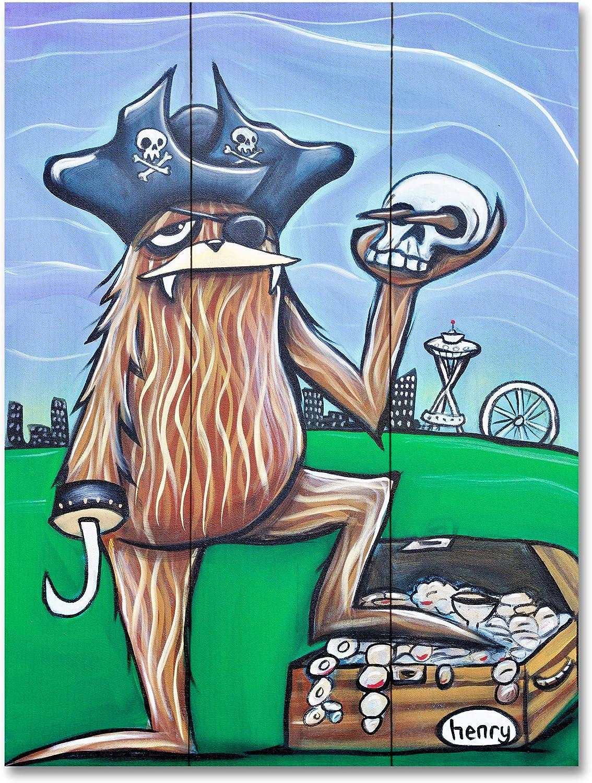 Sasquatch with Bowie Bolt Canvas Giclee Print Featuring Original Art by Seattle Mural Artist Ryan Henry Ward