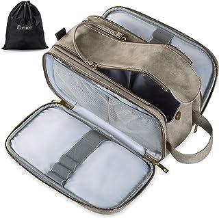 Vattentålig lädernecessär för män stor resa tvättväska raksdopp kit badrum gym toalettartiklar makeup organiserare med gra...