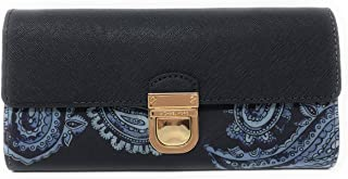 Bridgette Saffiano Leather Flap Push Lock Wallet in Admiral