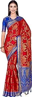 MIMOSA Art Patola Wedding SIK Saree Kanjivarm Style with Contrast Blouse Color: Red (4304-374-2D-STRW-RBLU)