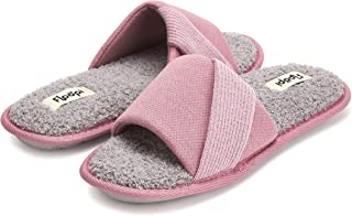 Floopi Soft Waffle Summer Slide Open Toe Slippers for Women with Memory Foam, Accent Knit Strap, Soft Terry Insole, Anti S...