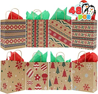 48 Christmas Kraft Goody Gift Paper Bags with Handles Assorted Christmas Characters for Xmas Party Favors, Holidays Giving...