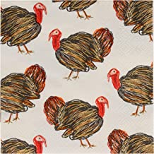 Cocktail Napkins - 100-Pack Disposable Paper Napkins, Autumn Thanksgiving Dinner Party Supplies, 3-Ply, Turkey Design, White, Unfolded 10 x 10 Inches, Folded 5 x 5 Inches