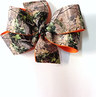 Girls Tan Brown Green Camouflage Hair Bow With Hunter Orange Girls Tree Camouflage Barrette Teen Camo Hair Accessory