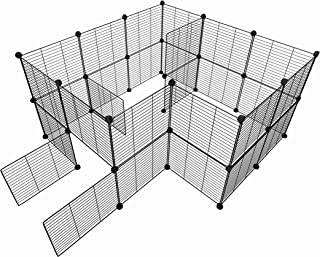 Tespo Pet Playpen, Small Animal Cage Indoor Portable Metal Wire yd Fence for Small Animals, Guinea Pigs, Rabbits Kennel Crate Fence Tent 15 X 12 inch