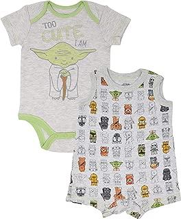 Yoda Infant Baby Boys Bodysuit & Sleeveless Romper Clothing Set