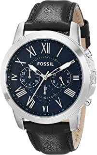 Men's FS4990 Grant Chronograph Stainless Steel Watch with Black Leather Band