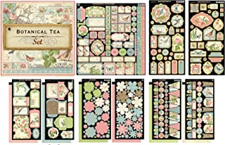 Graphic 45 Botanical Tea 12 sheets of 12 by 12-inch Paper, Sticker Sheet, Chipboard 1 & 2, Tags, Flowers, Banners