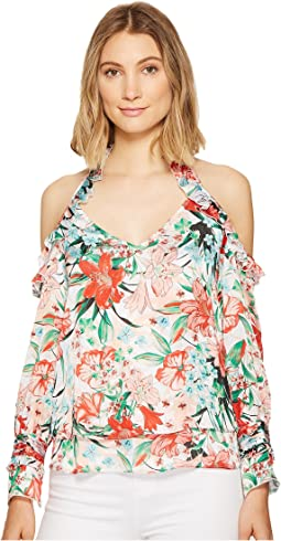 Printed Off the Shoulder Ruffle Top