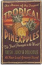 Lantern Press Pineapple - Vintage Sign (10x15 Wood Wall Sign, Wall Decor Ready to Hang)