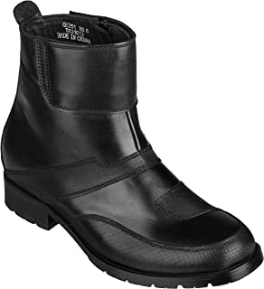 CALTO Men's Invisible Height Increasing Elevator Shoes - Black Leather Zipper High-top Biker Boots - 3.3 Inches Taller - G6251
