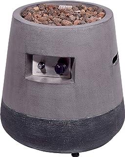 dobar Konischer Outdoor Lava-Ofen mit Lavasteinen, Propangas-Flamme, Magnesium-Feuerstelle Feuerschale, Grau, 50 x 50 x 50 cm