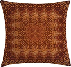Ambesonne Antique Throw Pillow Cushion Cover, Vintage Lacy Persian Pattern from Ottoman Empire Palace Carpet Style Art, Decorative Square Accent Pillow Case, 18 X 18, Orange Brown