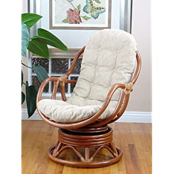 : 3 PC Java Swivel Rocking Chair Natural Handmade