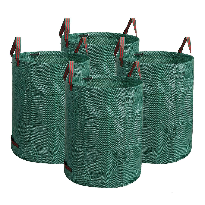 Lawei 4 x 272 L Bolsas para Desechos de Jardín, Bolsas de Basura de Desechos de Jardín Bolsa Resistente y Plegable: Amazon.es: Jardín