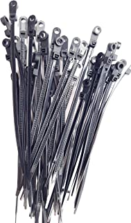 Mounting Hole Cable Ties - 100 Pack - 8 Inch 50 Lbs, Nail Screw Wire Hole Zip Tie (100, Black)