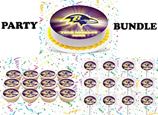 Baltimore Ravens Party Supplies 3 Pc Set Including Edible Image Round Cake Topper Frosting Sugar Sheet, Personalized Cupcakes, Lollipops Decorations