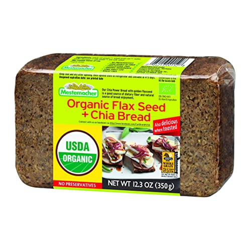 Mestemacher Bread Organic Flaxseed Chia 123 Ounce 9 Count