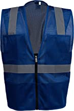 Safety Depot Mesh Reflective Safety Vest With Zipper and Pockets Hi Vis, Light Weight MSD1000 (Royal Blue, Small)
