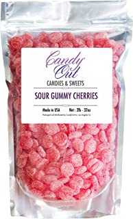 CandyOut Sour Gummy Cherries 2 Pound Sour Sugar Coated Cherry Flavored Gummy Candy