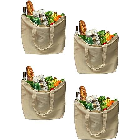 Earthwise Bolsas de compras de algodón orgánico reutilizables, lavables a máquina, ecológicas, biodegradables, plegables, duraderas, ideales para manualidades, 45,7 cm de ancho x 36,1 cm de alto (paquete de 4)