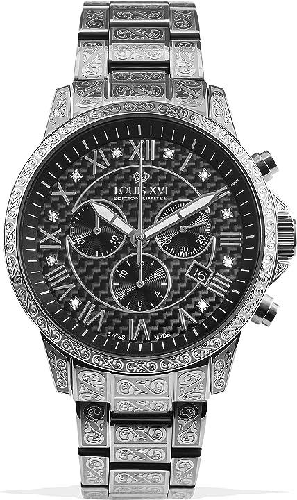 Orologio da polso da uomo palais royale cinturino in acciaio argento e nero carbonio con diamanti veri 1019