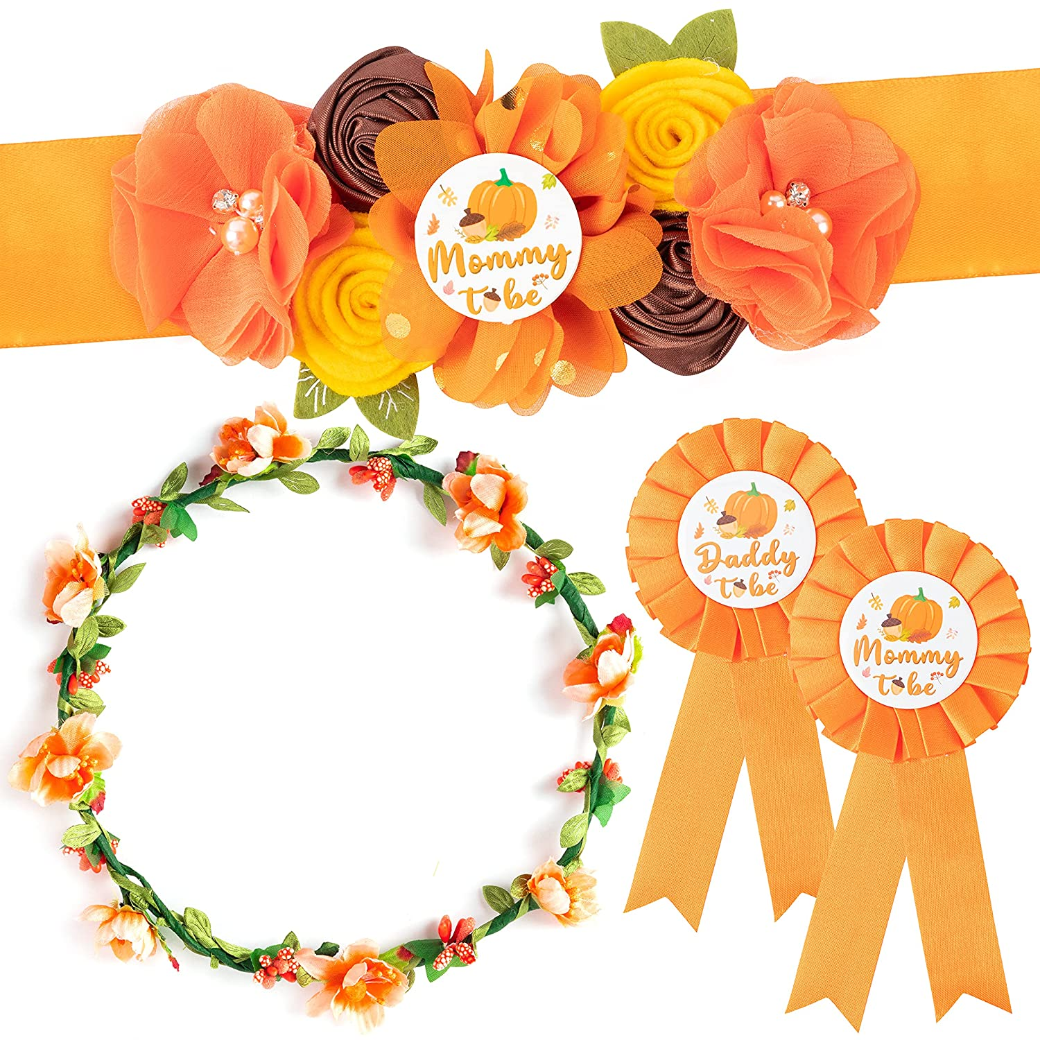 5Pcs Pumpkin Maternity Sash Set, Happy Fall Theme Mommy to Be & Daddy to Be Corsage Pins, Flower Crown and Pregnancy Sash Keepsake for Autumn Pumpkin Gender Reveal Baby Shower Party Photo Prop Gift