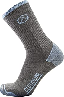 CloudLine Merino Wool Hiking & Athletic Crew Socks - Ultra Light - Made in USA