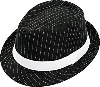 ILOVEFANCYDRESS Men's Deluxe Pinstripe Trilby Hat Stripe & Band Gangster Style