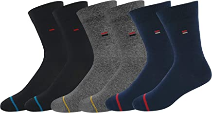 NAVYSPORT Men's Cotton Business Formal Socks Blue, Grey, Black (Pack of 3)