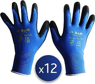 S&R 12 Guantes de Trabajo de Fibra de poliéster con recubrimiento de PU. 12 pares - Talla XL/10