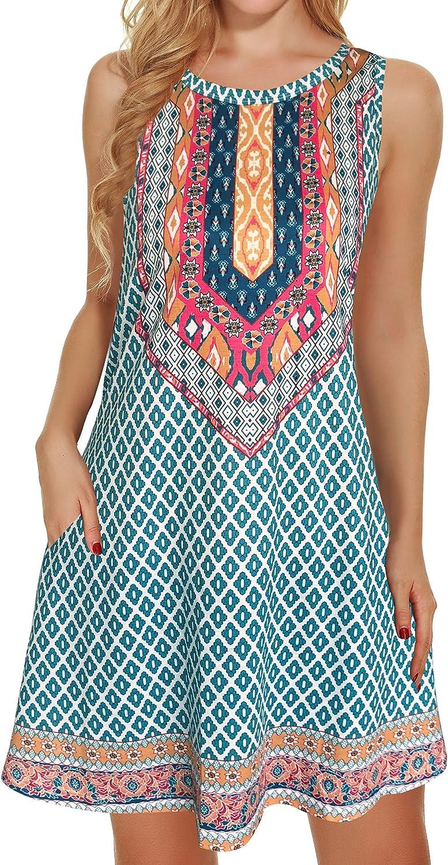 Boho Dresses for Women Summer Beach Sleeveless Vintage Floral Flowy Pocket Tshirt Tank Sundresses
