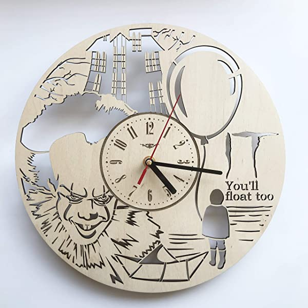 7ArtsStudio Pennywise Stephen King It Wall Clock Made Of Wood Perfect And Beautifully Cut Decorate Your Home With Modern Art Unique Gift For Him And Her Size 12 Inches