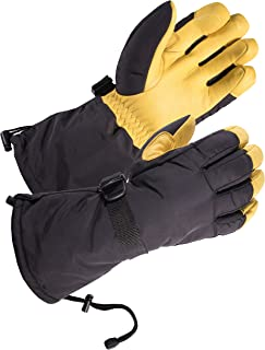SKYDEER Waterproof and Windproof Genuine Deerskin Leather Ski Gloves with 150g 3M Thinsulate Insulation (SD8648T)