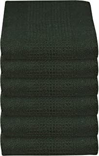 GLAMBURG 100% Cotton Kitchen Towel 6-Pack 18x28 Waffle Weave Kitchen Dish Towels or Cleaning Towels - Highly Absorbent & Quick Dry - Hunter Green