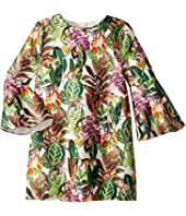 Oscar de la Renta Childrenswear - Mikado Jungle Monkeys Bell Sleeve Dress (Toddler/Little Kids/Big Kids)