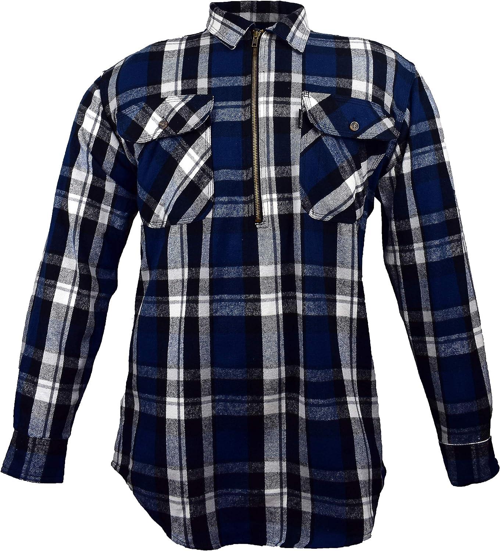 Five Brother Men's Big & Tall Heavyweight Logger Flannel Shirt | ½ Zip Front