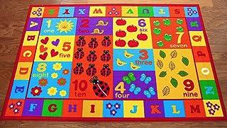 Furnish mi Lugar 3'x 5' niños ABC Alfombra educativa con Letras del Alfabeto y números Multicolor tamaño Real 3'3