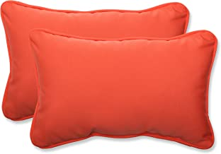 Pillow Perfect Indoor/Outdoor Rectangular Throw Pillow (Set of 2) with Sunbrella Canvas Melon Fabric, 18.5 in. L X 11.5 in. W X 5 in. D