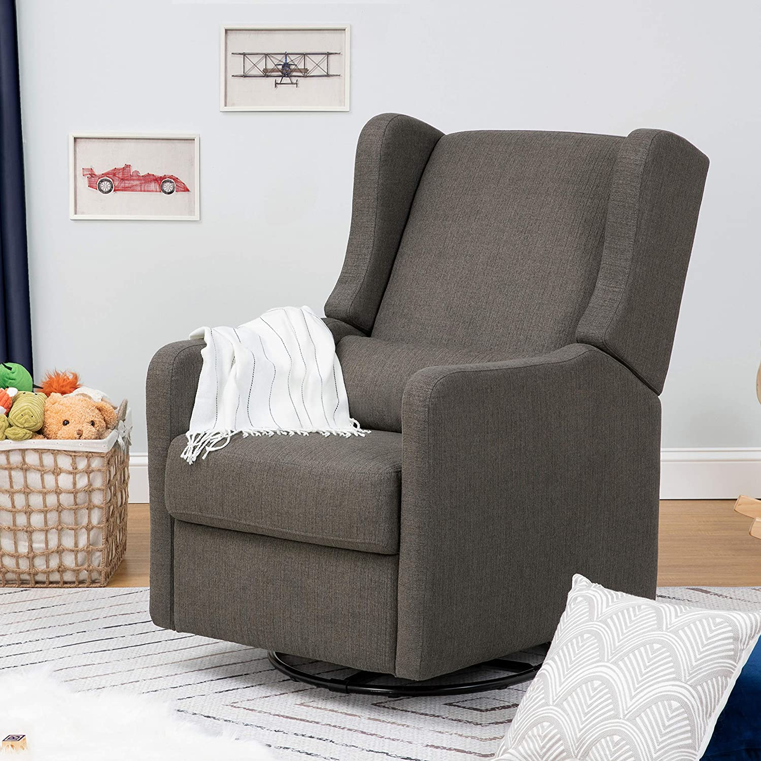 CARTERS BY DAVINCI Adrian Swivel Glider with Storage Ottoman in Cream Linen Water Repellent and Stain Resistant Fabric Greenguard Gold Certified Performance Cream Linen F18787PCM