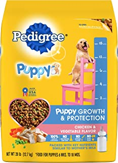 Pedigree Puppy Growth & Protection Dry Dog Food Chicken & Vegetable Flavor, 28 Lb. Bag (Discontinued By Manufacturer)