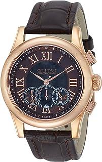 ساعة كرونوغراف كلاسيكية للرجال بمينا بلون بني من تيتان