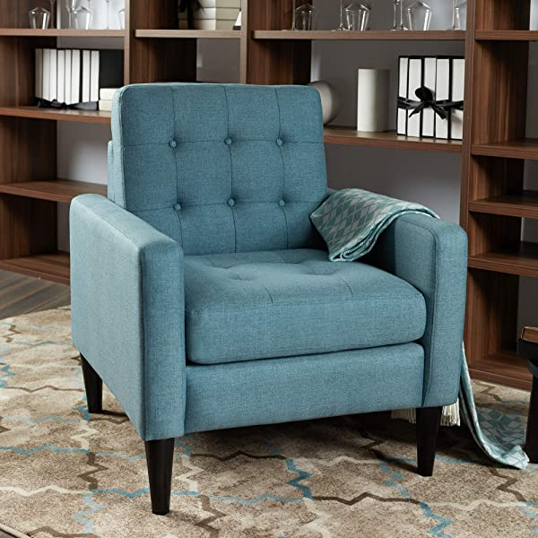 LOKATSE HOME Mid Century Modern Recliner Accent Fabric Arm Chair Comfy Upholstered Single Sofa For Living Room Furniture Blue