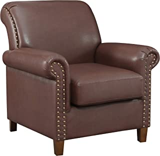 Ravenna Home Classic Rolled Arm Nailedhead Faux Leather Accent Chair, 35