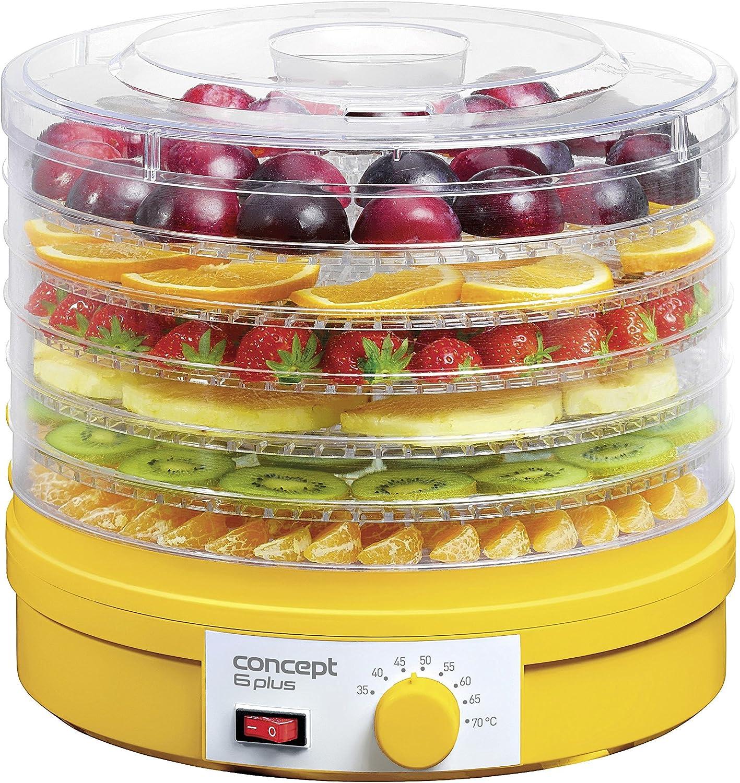 Concept Electrodomésticos SO1015 Deshidratador de alimentos con 6 bandejas de abastecimiento, temperatura ajustable de 35-70 grados, 245 W, 46 Decibelios, Plástico, Amarillo