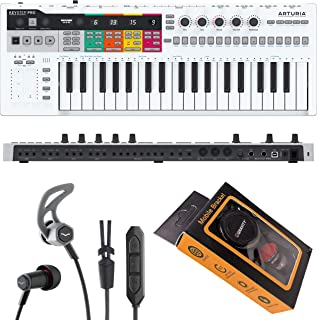 Arturia 37-Key KeyStepPro Controller & Sequencer USB/MIDI/CV Keyboard Controller, with Aftertouch KeyStep Pro with V-Moda Forza in-Ear Hybrid Sport Headphones and Gravity Phone Holder Bundle PK1