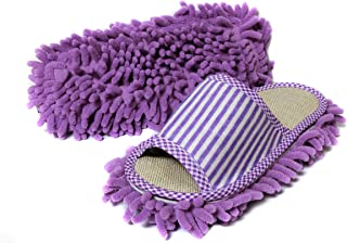Friendly House Women's Microfiber Floor Cleaning Mop Slippers with Stripes (Suitable for US Women Size 5-7, Purple)