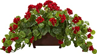Nearly Natural Geranium Artificial Decorative Planter Silk Plants Red