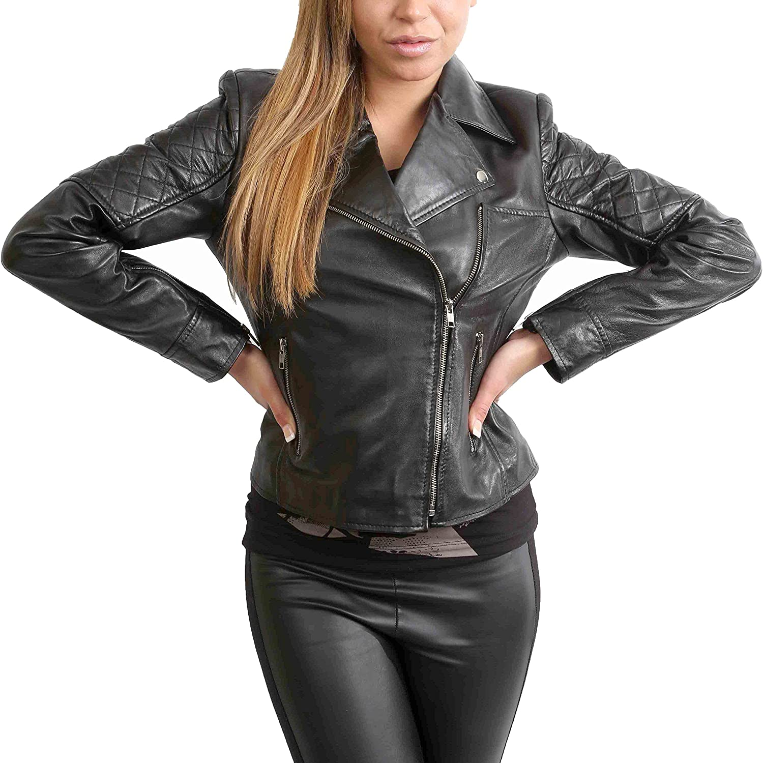 House of Leather Ladies Biker Style Fitted Jacket Slim Fit Cross Zip Waist Length Remi Black